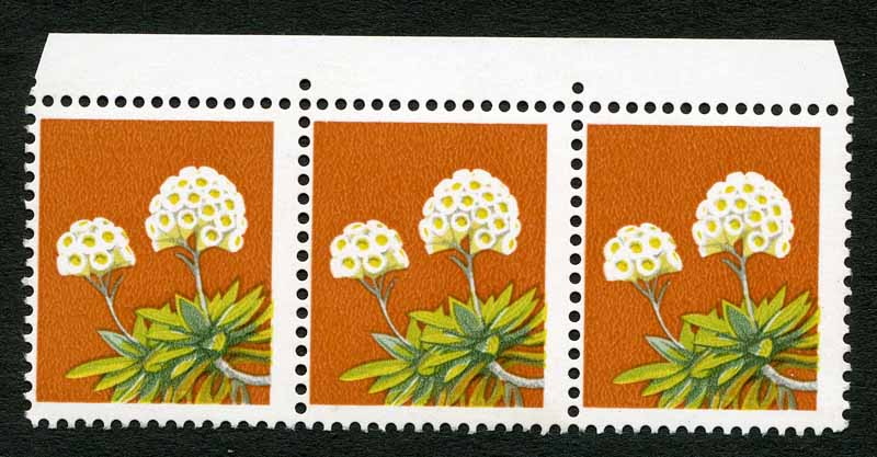 1975 18¢ Wildflower marginal strip of 3 with Black colour omitted MUH and centered to left. Centre unit with minor gum disturbance. ACSC 725c. Also 1979 55¢ Fishing pair MUH, left unit with smudged and partly omitted