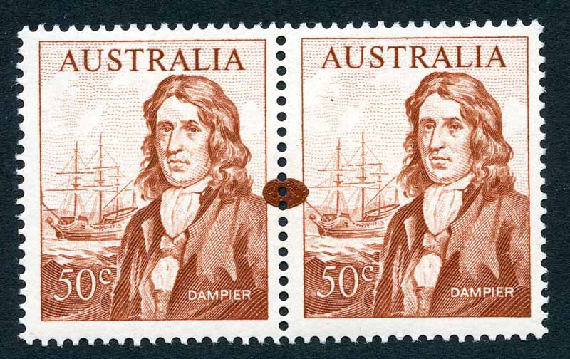 1966 50¢ Dampier pair with oval ink blob in margin between both units and 75¢ Cook part Plate No 3 corner block of 8 with Hooked