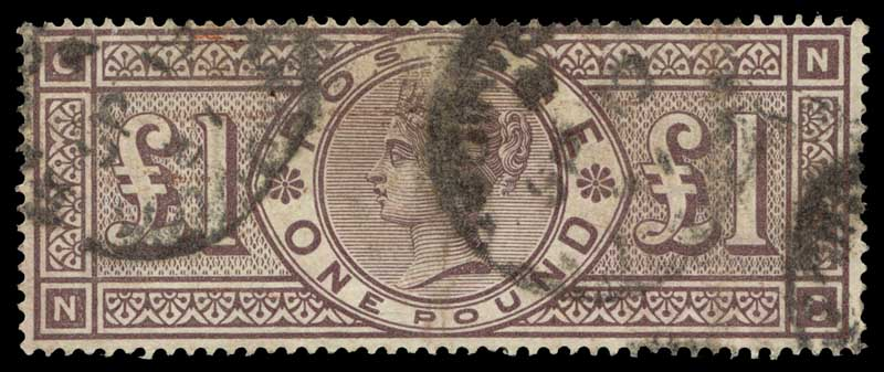 Collection of 242 used stamps from 1840 to 1948, with main strength in Queen Victorian era including numerous better and highly catalogued items. Noted 1884 £1 Brown-Lilac with Imperial Crowns wmk Queen Victoria sound used copy. Typical mixed condition and varying duplication. Catalogue Value £22,500.00+.