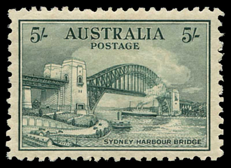 1932 5/- Green Sydney Harbour Bridge MLH and well centered.