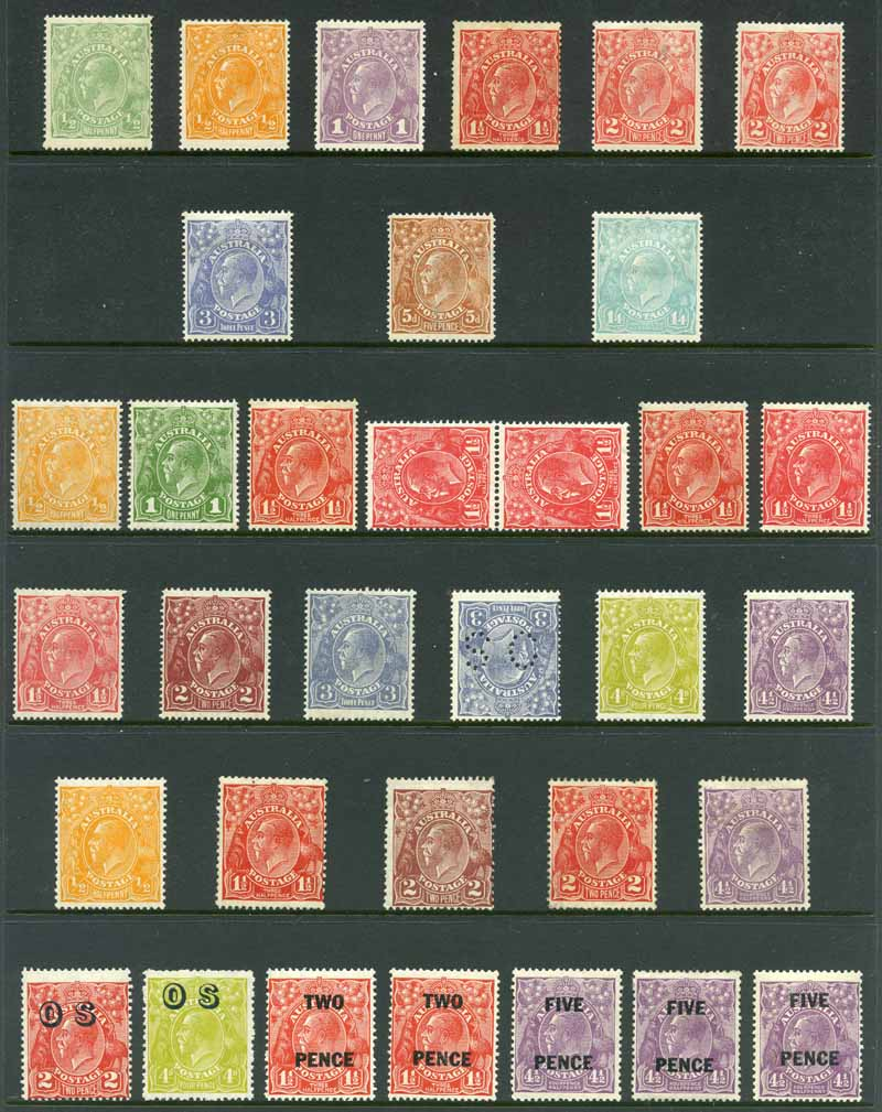 Selection of 38 mint KGV issues including 3d Blue, 5d Chestnut and 1/4 Blue Single Wmk, 2d Brown, 3d Blue (2, one perf OS with inverted wmk), 4d Olive and 4½d Violet Small Mult Wmk perf 14, 4½d Violet Small Mult Wmk perf 13½ and 5d Brown O/P OS C of A Wmk, plus range of 44 used KGV issues to 1/4 value. Some minor faults.