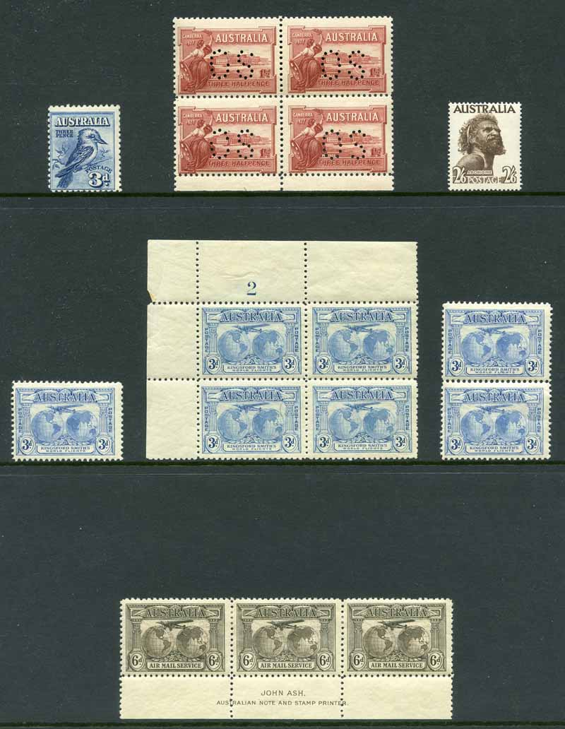 Selection of 106 MUH, MLH and used Pre-Decimal stamps from 1914 to 1965 including 1914 6d Claret Kooka FU, 1927 1½d Canberra perforated OS block of 4 MUH, 1931 3d Blue Kingsford Smith O/P OS CTO, 1931 6d Brown Airmail imprint strip of 3 MLH, 1938 3d Blue Die II Thin Paper block of 6 and Die III block of 4 MUH, 1949-50 Arms set MUH and many other handy items, plus 1971 Christmas block of 25 FU. Odd minor fault.