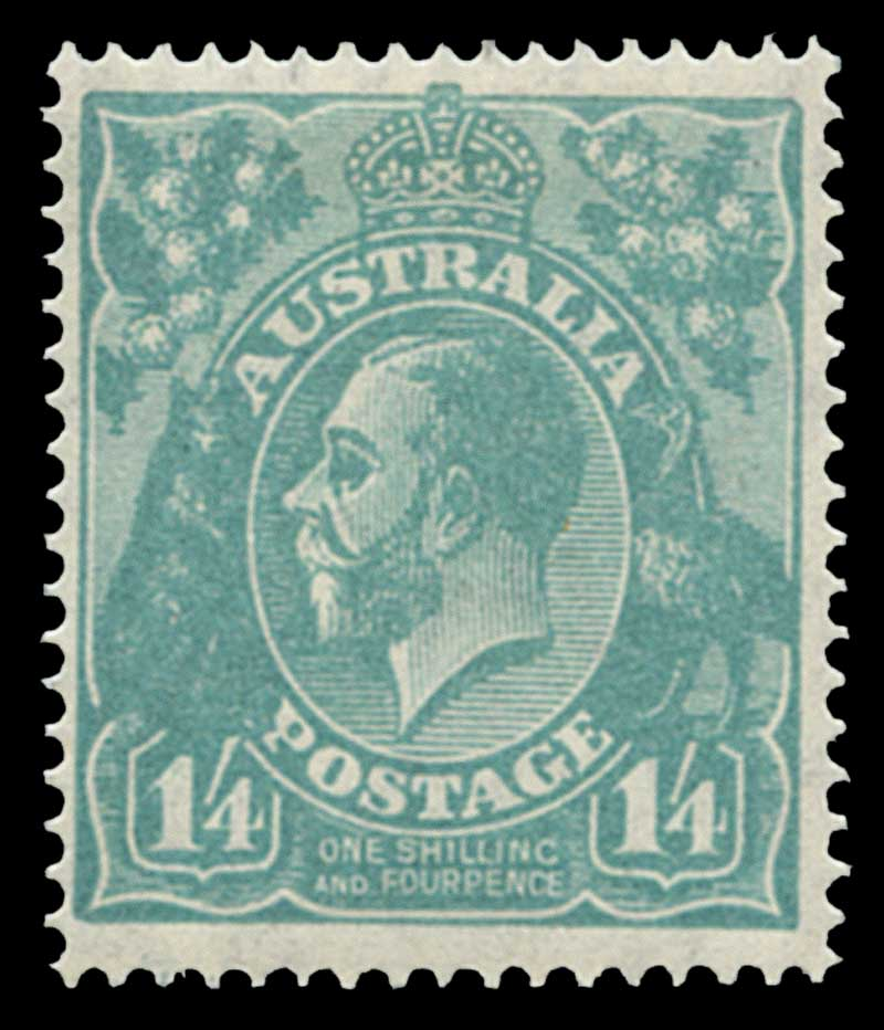 1927 1/4 Greenish-Blue Small Multiple Wmk perf 14 KGV MLH and reasonably well centered.