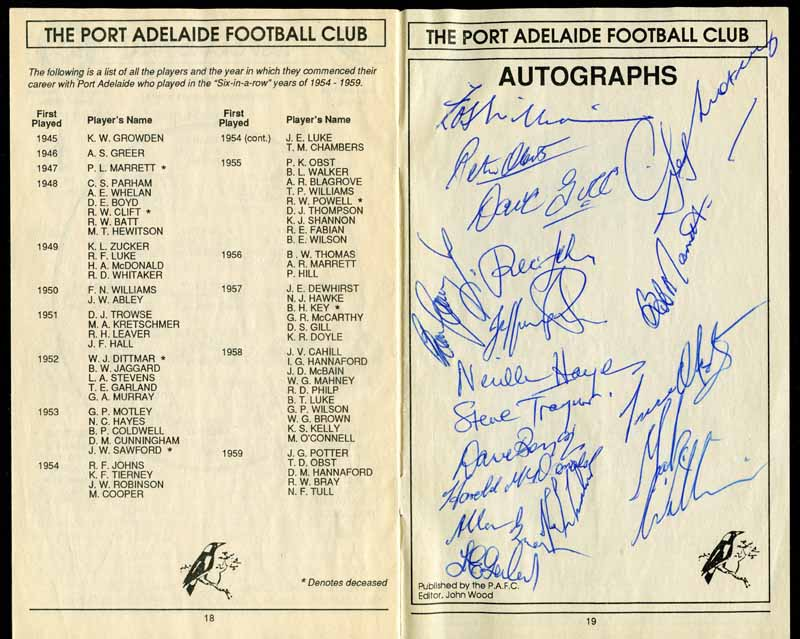 1992 Port Adelaide Football Club 1954 - 1959 Reunion Dinner Budget, with several autographs of Premiership players including Fos Williams, Geof Motley, Trevor and Peter Obst, Dave Boyd, Harold McDonald, Neville Hayes, Bob Marrett, Dave Gill, Lloyd Zucker and Tom Garland.