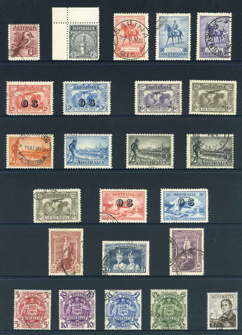 Collection of many hundreds of mostly good to fine used Pre-Decimal and Decimal stamps from 1913 to 2003 in 3 Hagner albums, plus off paper mixture and small of FDC's in shoebox. Noted 1914 6d Claret Kookaburra, 1932 2d and 3d Kingsford Smith O/P OS (CTO), 1935 1/- Anzac (MUH), 1935 Silver Jubilee set, 1938 Thick Paper Robe set, 1964 £2 Navigator and a handy range of Decimal issues. Mainly fine with some duplication.