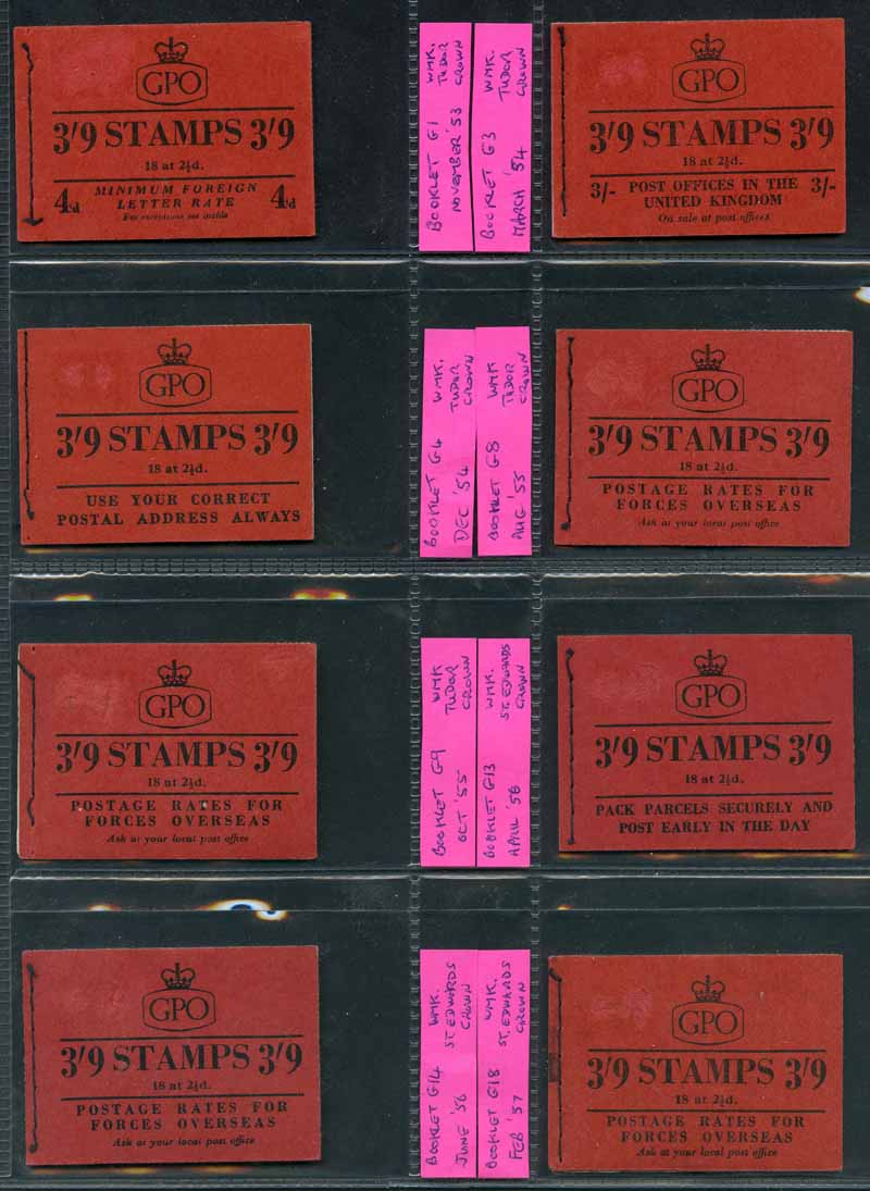 1953-7 3/9 Wilding set of 11 different dated booklets, all with small surface rub on front cover, 1965 6/- Wilding booklet dated June 1965 with phosphor bands and 1968 10/- Machin Head booklet dated September 1968 MUH. Sg G1, 3, 4, 6, 8, 9, 13, 14, 18, 19 and 20, Q1p and XP6. Catalogue Value £442.00.