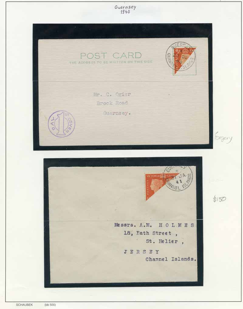 Collection of 3 mint and used stamps and 6 covers from 1940 to 1943 including Guernsey 1940 2d Orange Stamp Centenary issue of Great Britain bisected on addressed cover to Jersey, cancelled 31 JA 41, plus 1938 2d Orange KGVI on plain postcard with St. Sampson 27 DE 40 forged postmark on fake bisect and Jersey 1943 Pictorial set on registered cover, cancelled 30 JY 45.