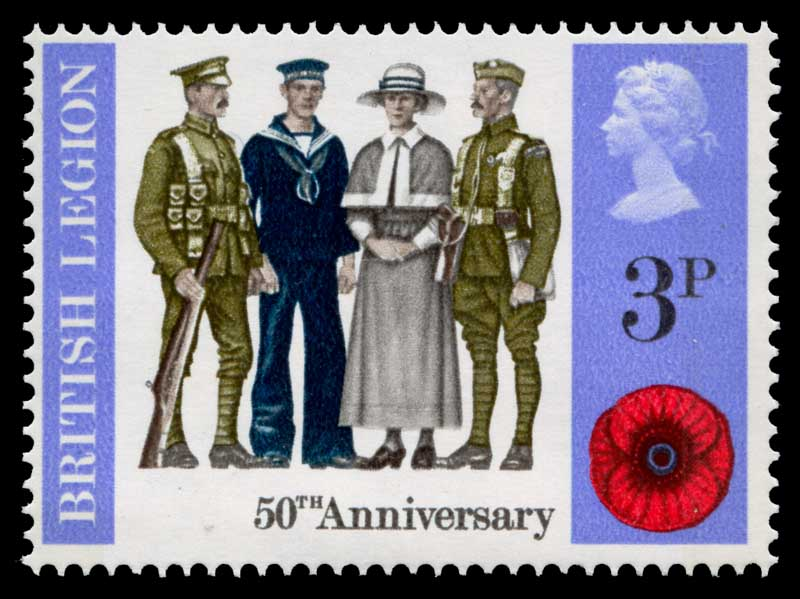 1971 3p Anniversaries (Servicemen and Nurse of 1921) with Red-Orange (nurse's cloak and hat band) colour omitted MUH. Sg 887b. Catalogue Value £800.00.