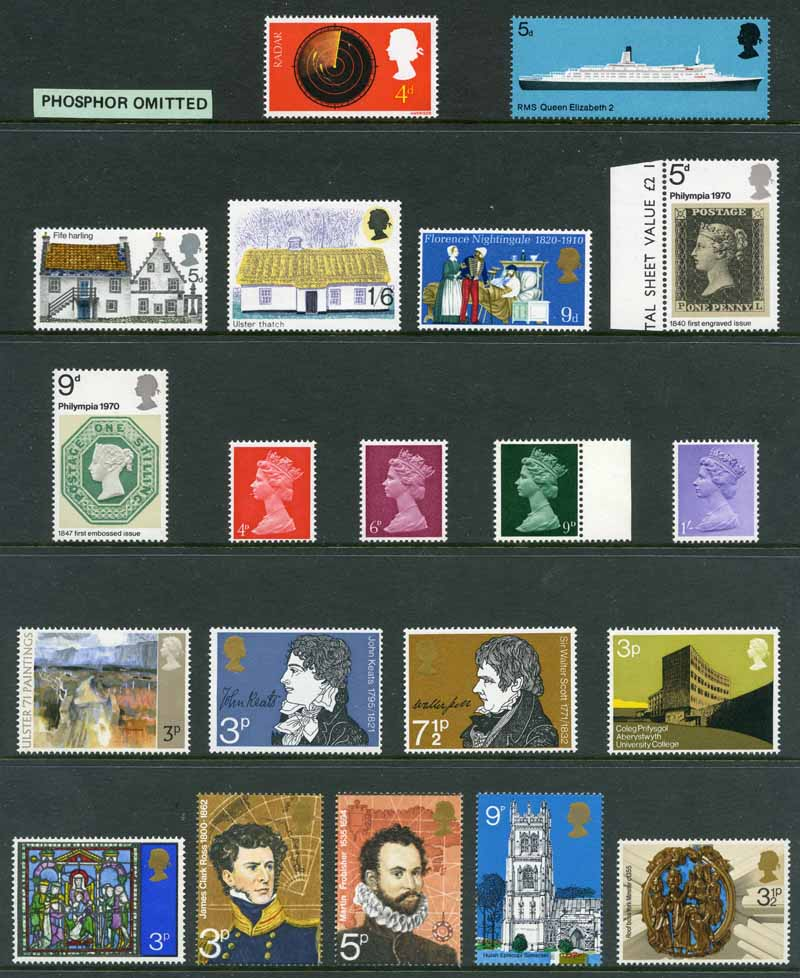 Selection of MUH varieties from 1959 to 1986, including 1970 5d Architecture (Fife Harling) marginal pair with Lemon omitted on chimney at left (R12/2), 1970 5d Christmas with misplaced perforations 4mm to right, 1971 7½d Christmas with misplaced embossing, 1973 3p Christmas strip of 5 with Salmon colour (floor) on centre unit partially omitted, 1981 18p Butterfly with misplaced Gold (Queen's Head) 6mm to right, 1982 12½p Light Emerald Machin Head imperforate pair and 1986 22p Domesday Book with Blue colour shift MUH. (23 with Phosphor omitted, 2 with Embossing omitted and 7 with Inverted watermark). Catalogue value of listed varieties £728.00.