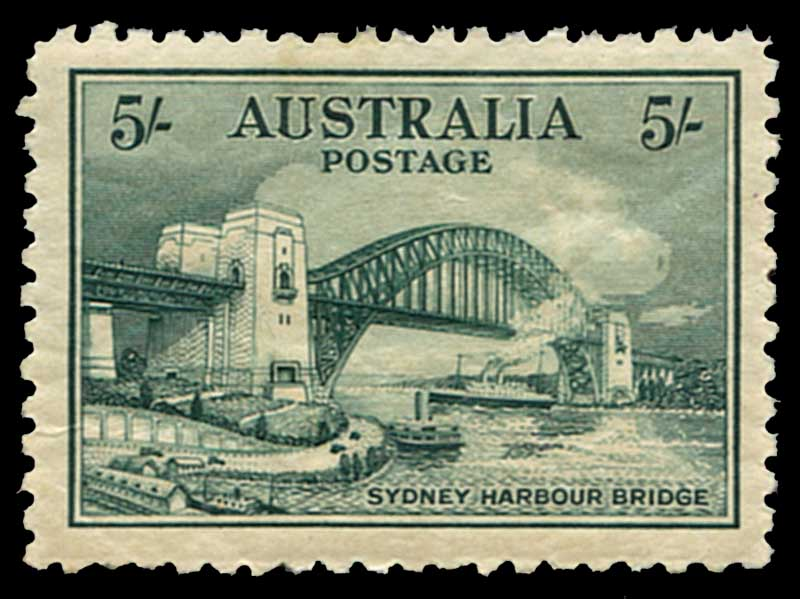 Collection of mostly used Pre-Decimal stamps from 1927 to 1940, plus a range of Australian States, Kangaroo, KGV and early Great Britain issues in small stockbook and on album pages. Noted 1932 5/- Green Sydney Harbour Bridge MLH with small thin.