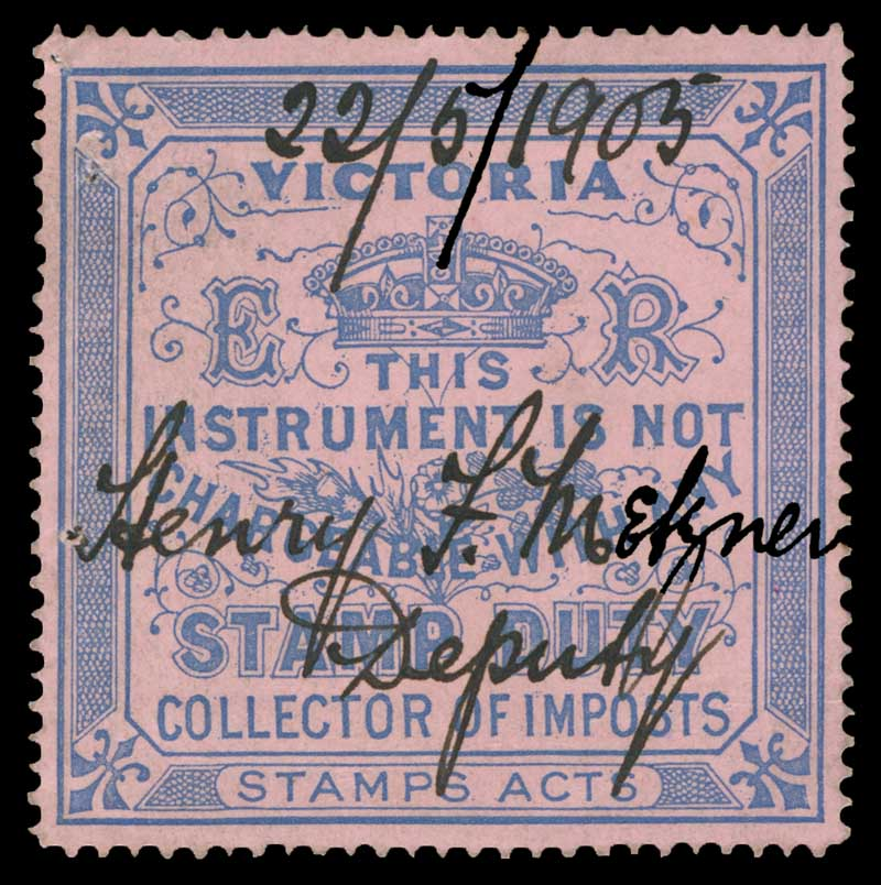 Collector of Imposts Ultramarine on Pink E.R. Duty Exempt stamp fine used. 2 small pinholes. Barefoot 9. Elsmore Catalogue Value $100.00.