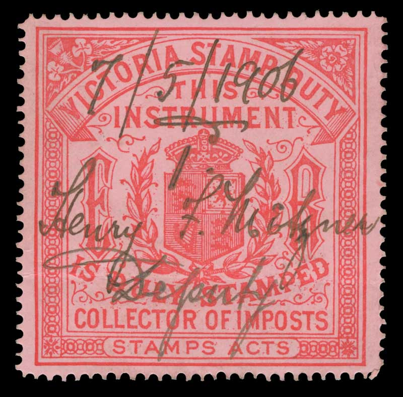 c1905 Collector of Imposts Carmine on Pink E.R. Duty Exempt stamp fine used with light crease. Barefoot 8. Elsmore Catalogue Value $100.00.