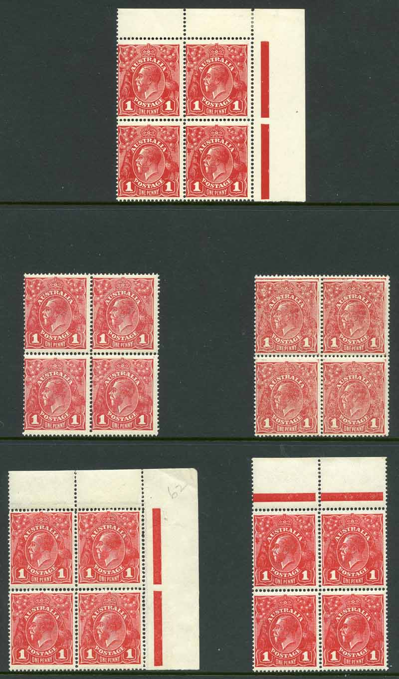 1914-18 1d Red Single Wmk KGV MUH block of 4. (5). One block with natural gum inclusion on one unit and another with some perf separation.