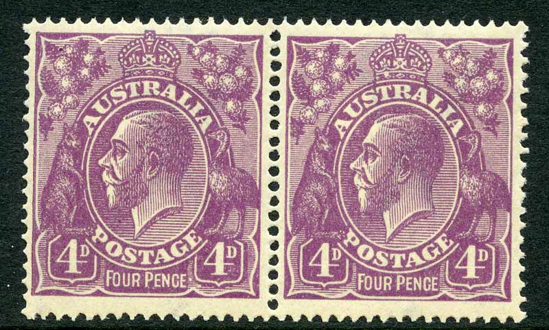 1921 4d Violet Single Wmk KGV MUH and well centered pair. Right unit with White flaw in base of crown variety. ACSC 111(2)L.