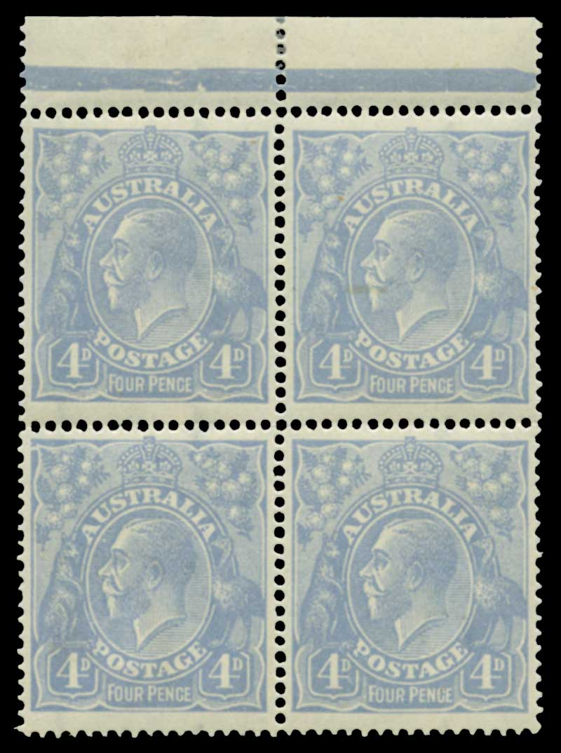 1922 4d Ultramarine Single Wmk KGV Cooke Plate marginal block of 4 MUH and well centered. Lower right unit with Thin