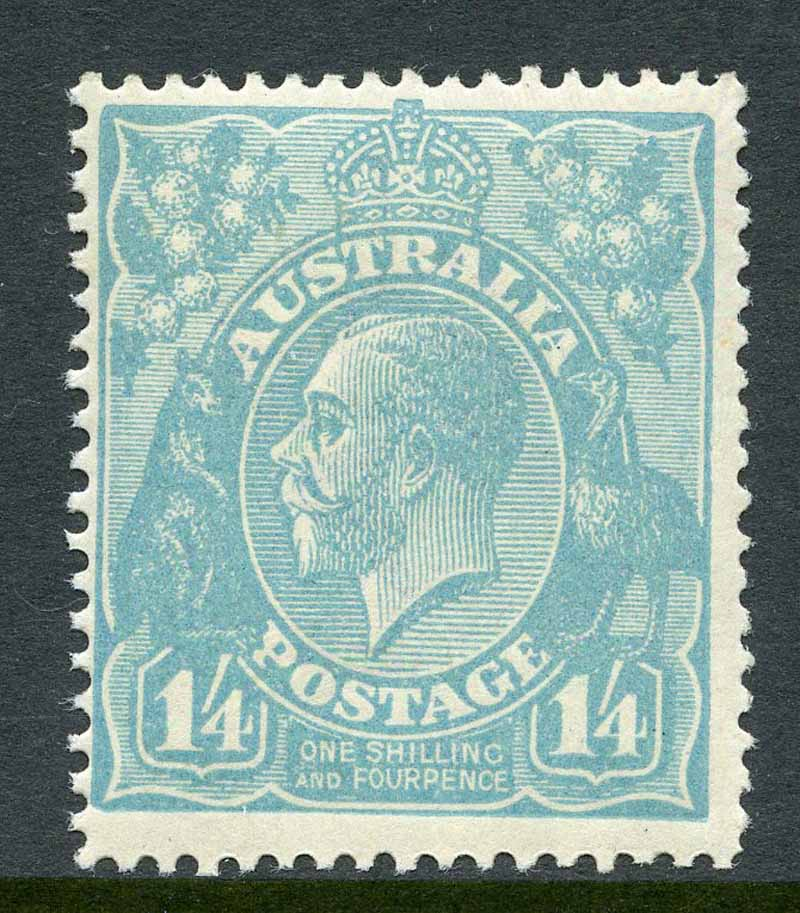 1920 1/4 Turquoise-Blue Single Wmk KGV MLH and centered to upper left. Few shortish perfs at lower right.