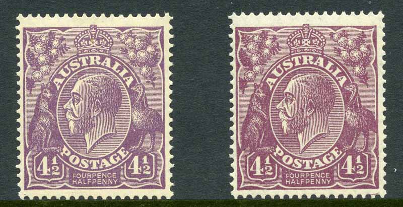 1927 4½d Violet and 4½d Reddish Violet Small Multiple Wmk perf 14 KGV MUH.