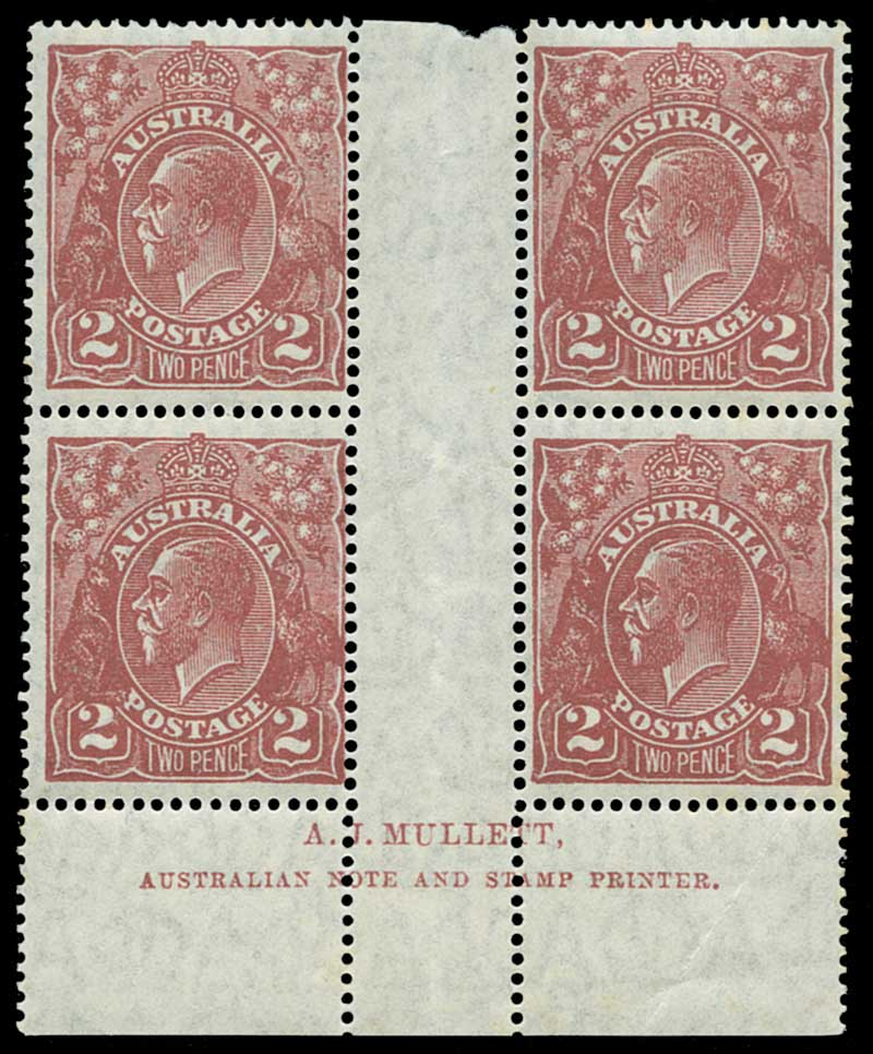 1927 2d Red Brown Small Multiple Wmk perf 14 KGV Mullett imprint block of 4 MUH. Right units with faint tone spots and lower right unit with additional crease in lower right corner and selvedge. ACSC 98(12)z.