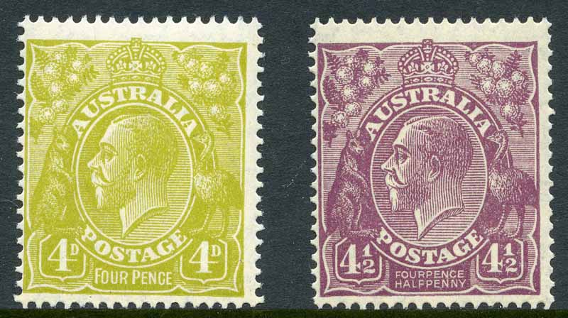 1927-28 4d Olive and 4½d Violet Small Multiple Wmk perf 14 KGV MUH and centered to left.