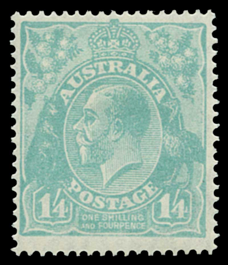 1927 1/4 Greenish-Blue Small Multiple Wmk perf 14 KGV MLH and reasonably centered.