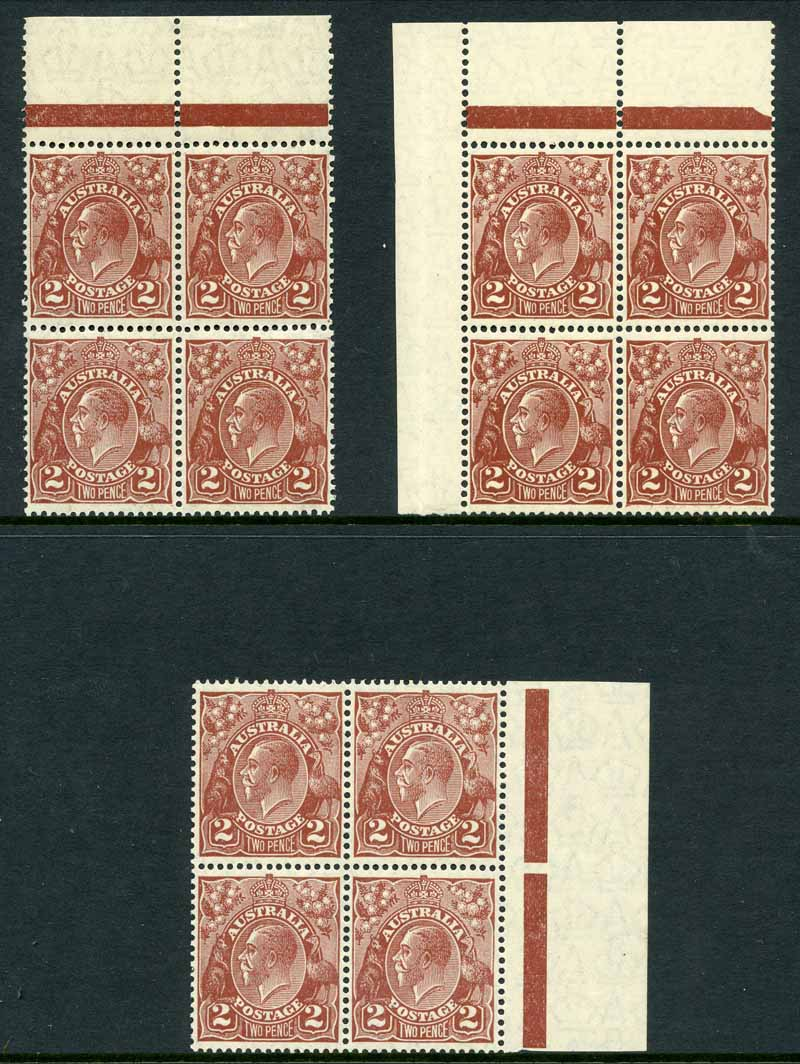 1928 2d Brown Small Multiple Wmk perf 13½ KGV MUH marginal blocks of 4. (3). Includes Duplication of