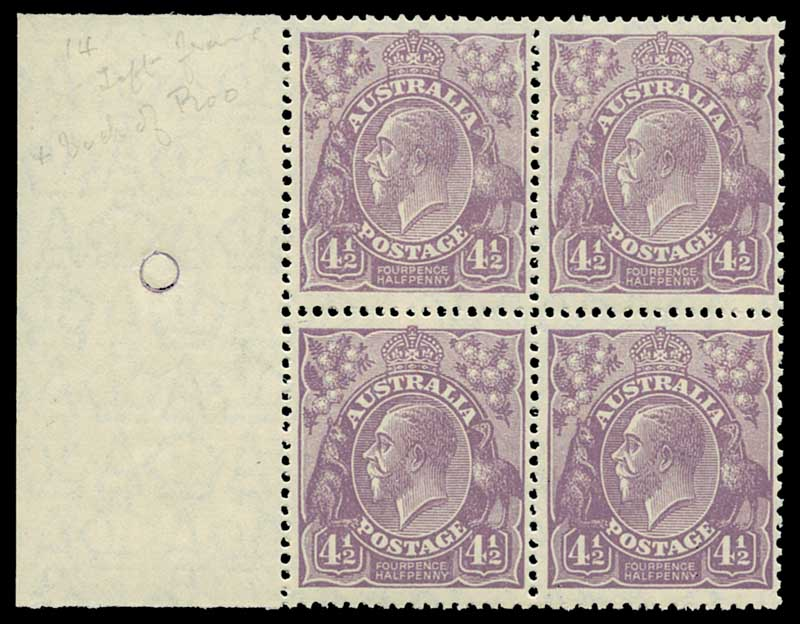 1928 4½d Violet Small Multiple Wmk perf 13½ KGV marginal block of 4 MUH and reasonably centered.