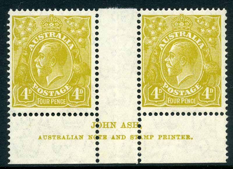 1933 4d Olive C of A Wmk KGV Plate 3 Ash imprint pair MUH and reasonably centered.