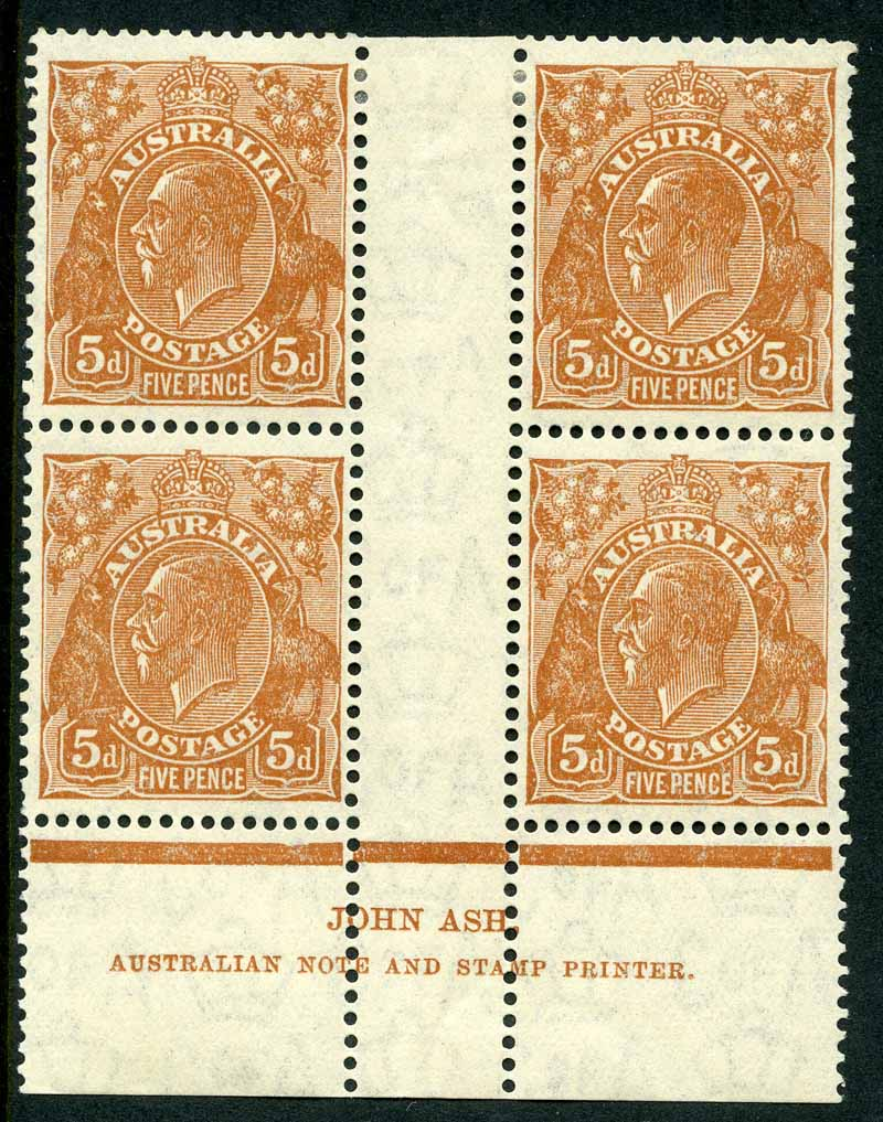 1932 5d Brown C of A Wmk KGV imprint block of 4, lightly hinged on top units and lower units MUH. Lower right unit with Flaw in crown variety. ACSC 127(3)z.