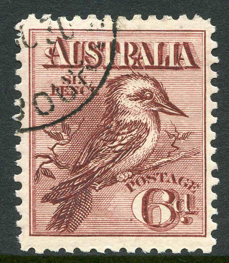 1914 6d Claret Kookaburra CTO and centered to right.