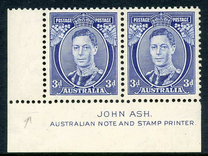 1938 3d Blue Die II Thick Paper KGVI imprint pair MUH and well centered.