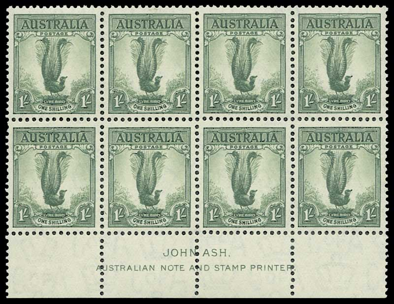 1937 1/- Perf 13½ Lyrebird 42.5mm Ash imprint block of 8 well centered. Lightly hinged on top left and top right units and remaining units MUH. ACSC 208zc.