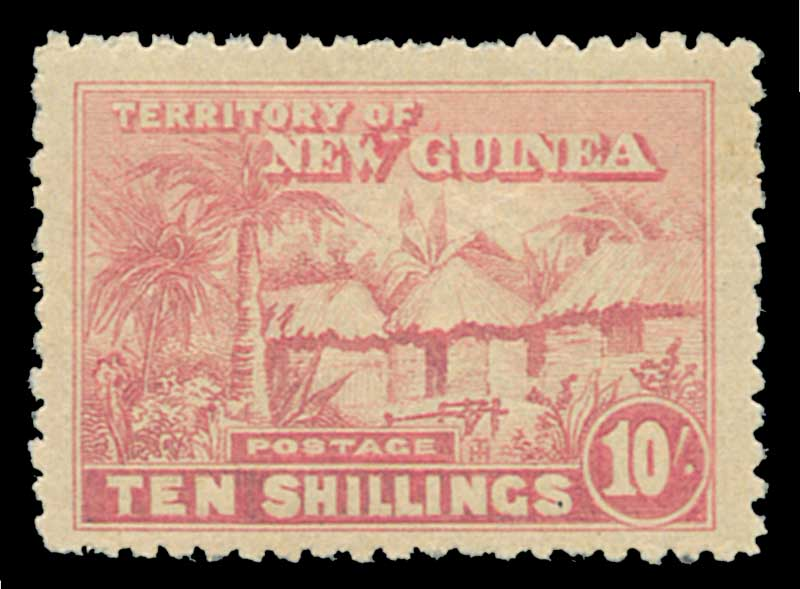 1925 Huts set to 10/- value MLH, excluding 2/- value. 10/- value with inking flaw on