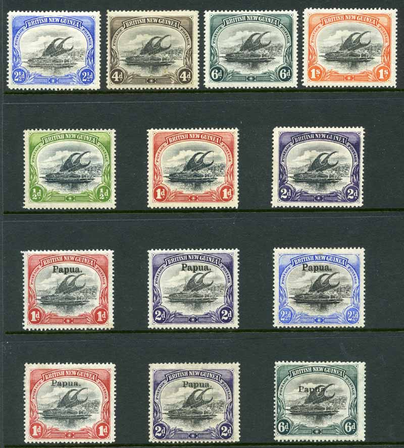 1901 2½d, 4d (faint crease), 6d and 1/- Thick Paper Horizontal Wmk, 1901 ½d, 1d and 2d Thick Paper Vertical Wmk, 1906 1d, 2d and 2½d Thin Paper Vertical Wmk Large Papua O/P and 1907 1d, 2d and 6d Thin Paper Vertical Wmk Small Papua O/P Lakatoi's in fine MLH condition. Odd minor blemish. Sg 4-7, 9-11, 22-24 and 39, 40 and 43. Catalogue Value £395.00.