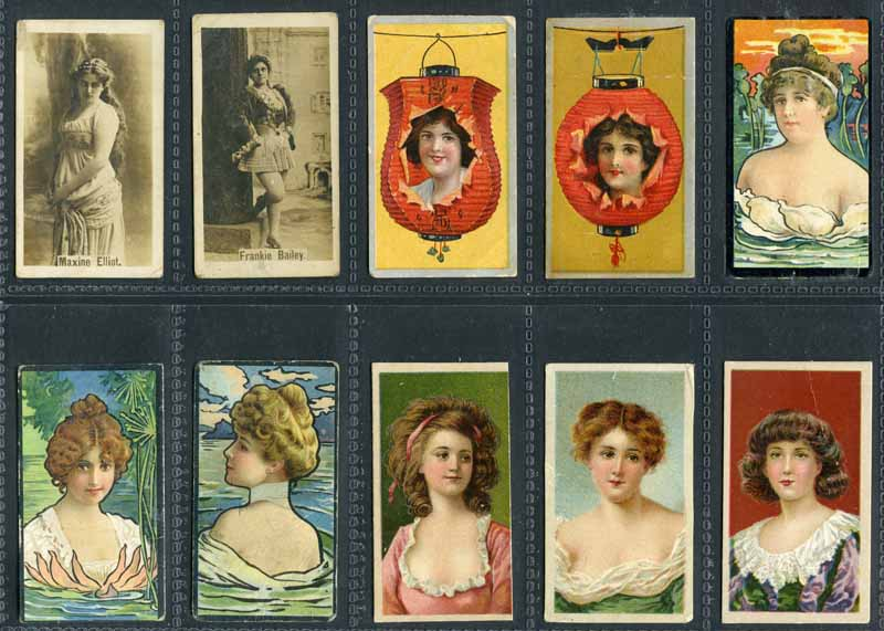 ATC and BAT 1901-1903 Actresses and Beauties selection of 33 different cigarette cards including Light and Dark Brown Frame Lines with mixed backs (13), Lantern Girls (2), Stippled Background (5), Flower Girls (3), Water Girls (3) and Actresses Photographic (2). Mixed condition.