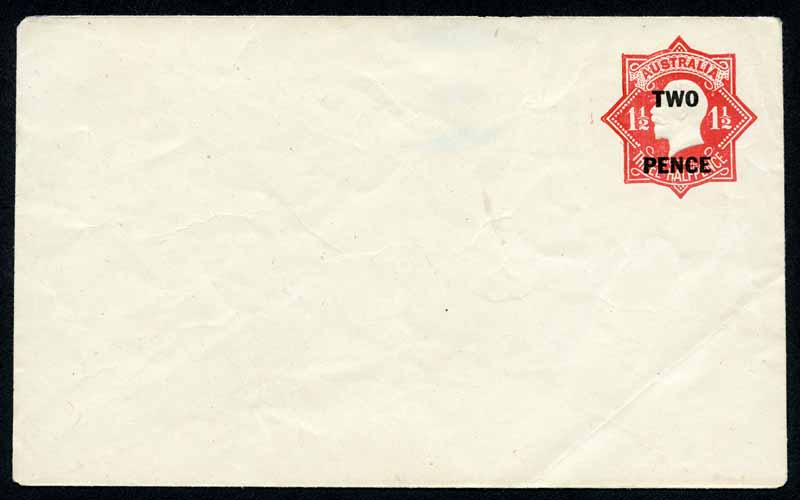 1930 Two/Pence on 1½d Red 'Star' Embossed KGV envelope unused. Light folds. ACSC EP34(1). Catalogue Value $750.00.