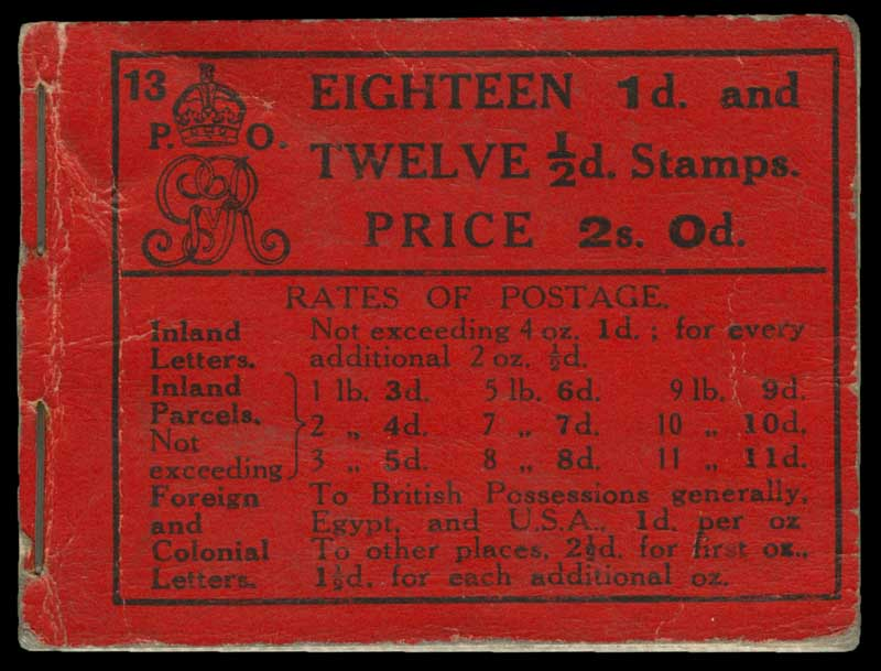 1913 2/- KGV part Booklet (Edition 13) with revised cover, containing 1 pane of ½d Green upright Simple Cypher Wmk KGV (pane NB6y) and 2 panes of 1d Red upright Simple Cypher Wmk KGV (pane NB7y), both CTO with advertisers voucher copy London EC Type G precancel. The specialist catalogues lists use of this pre-cancel as rare. Light wrinkling. Booklet BB6. Catalogue Value of a complete booklet is £1,200.00, but somewhat wierdly, the 3 panes have a catalogue value of £1,250.00.