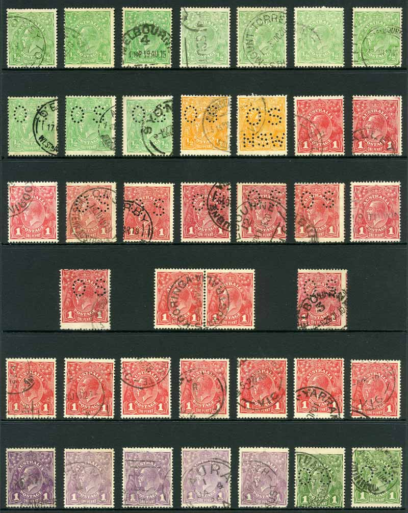 Selection of 211 used KGV issues including several perforated OS, odd variety and varying duplication. Noted Single Wmk 1d Red Die III (7), Small Multiple Wmk perf 14 set, Small Mult Wmk perf 13½ 1d Green Die II and 4½d Violet Die II CTO (2). Usual variable condition.