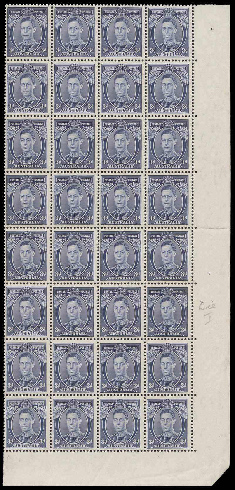 1937 3d Blue Die I KGVI lower right corner block of 32 MUH and centered to left. Faint toning affecting several units.