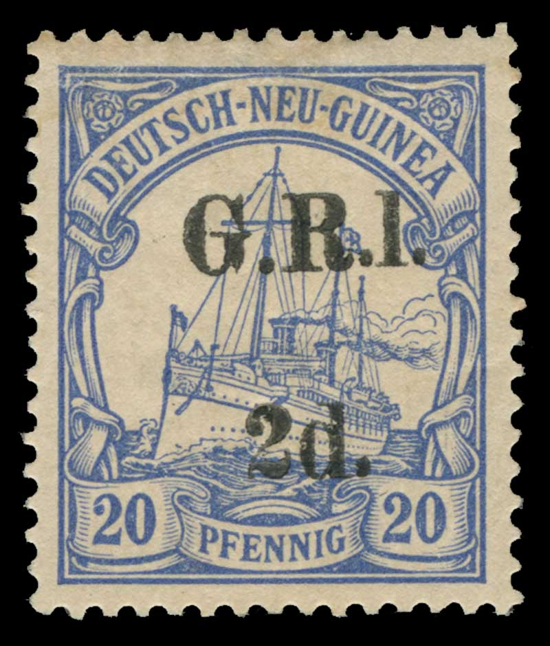 1914 2d G.R.I. on 20pf Ultramarine German New Guinea Yacht with G.R.I. and value 6mm apart and variety