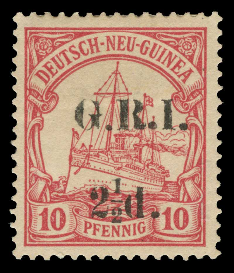 1915 2½d G.R.I. on 10pf Carmine German New Guinea Yacht with G.R.I. and value 6mm apart mint hinged and well centered. Setting 4, position 7. Expertisation mark on reverse. Sg 5. Retail $125.00.