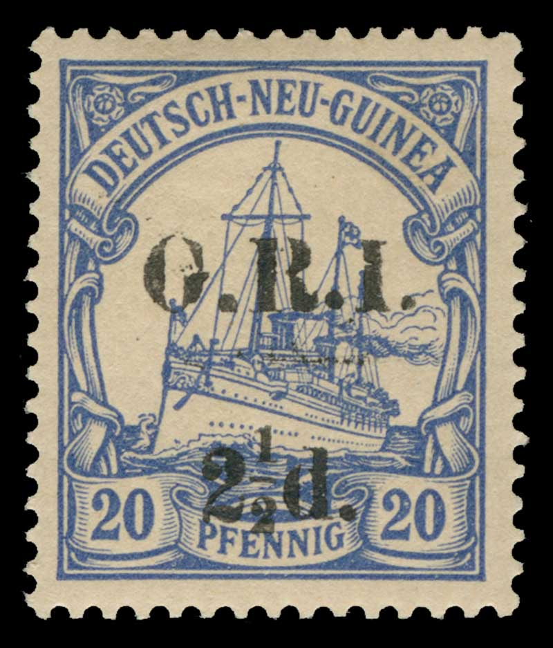 1915 2½d G.R.I. on 20pf Ultramarine German New Guinea Yacht with G.R.I. and value 6mm apart MLH. Setting 4, position 3. Sg 6. Retail $125.00.