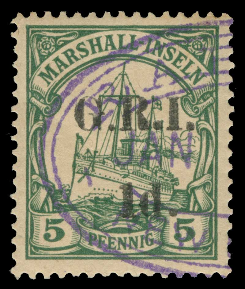 1915 1d G.R.I. on 5pf Green Marshall Islands Yacht with G.R.I. and value 5mm apart CTO with part Violet Rabaul Oval cancellation (Setting 2, position 4) and  1915 2d G.R.I. on 20pf Ultramarine Marshall Islands Yacht with G.R.I. and value 5mm apart FU with part Violet Rabaul Oval cancellation and tiny stain on reverse. (Setting 2, position 6). Sg 51 and 53. Retail $150.00.