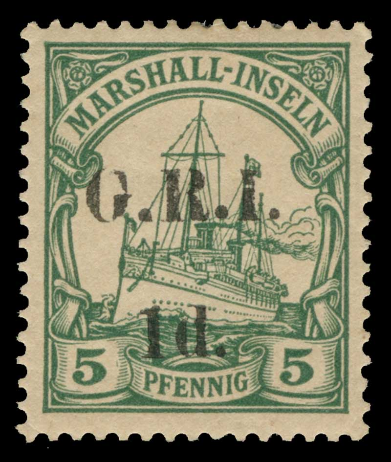 1915 1d G.R.I. on 5pf Green (setting 2, position 3), 2d G.R.I. on 10pf Carmine (setting 2, position 6) and 2d G.R.I. on 20pf Ultramarine (setting 2, position 9) Marshall Islands Yachts with G.R.I. and value 5mm apart MUH, the 2d Ultramarine MLH. C. Sg 51-53. Retail $255.00.