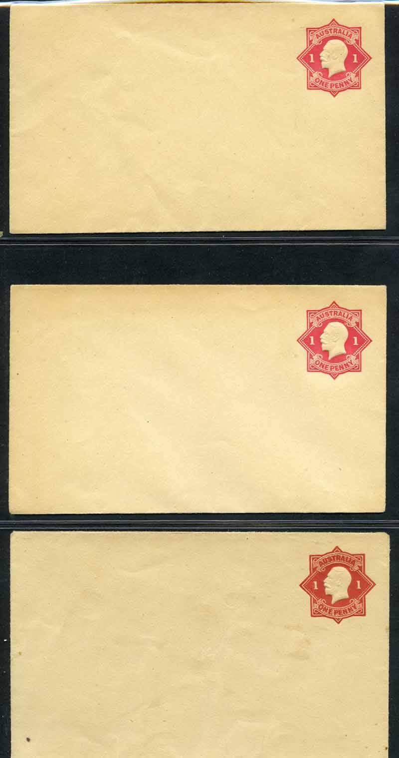 Selection of 30 mint and 7 used Embossed Envelopes from 1916 to 1965 including 1d Carmine Die I (4, one used) and Die 3 (2, one used with Left point of star broken), 1½d Black-Brown Die 2 mint, 1½d Brown Die 3 used, 2d Orange without 'Postage' used, 2d Scarlet used, THREE/HALFPENCE on 2d Red mint (2) and 1½d Green mint (9) KGV Star Embossed envelopes, TWO/PENCE on 1½d Red with blue security lining (2) and 2d Red with