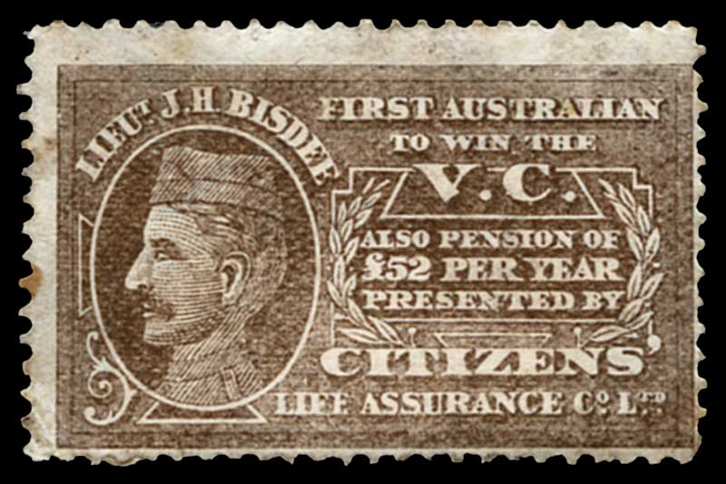 1902 Lieut.J.H.Bisdee First Australian To Win The V.C. promotional cinderella label in brown for