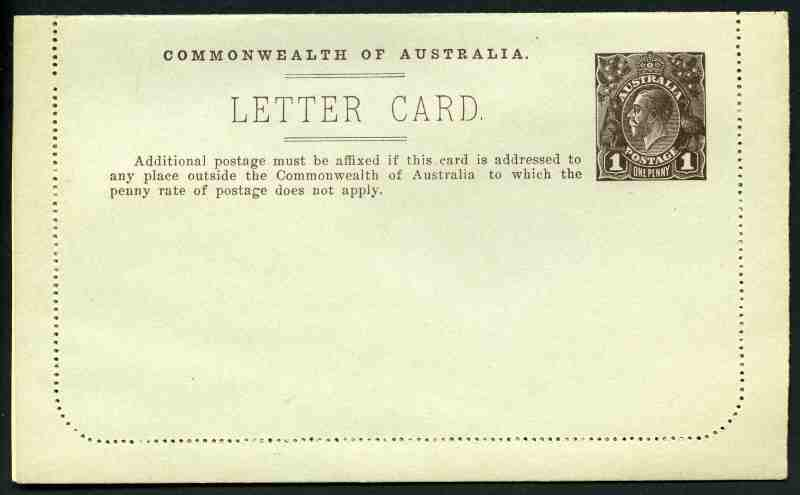 1916 1d Sepia Die II perf 12½ KGV Letter Card showing view