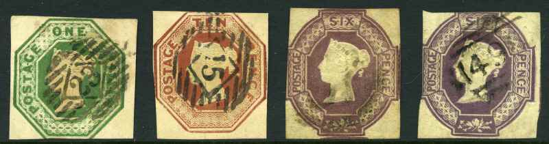 1848-54 1/- Deep Green, 10d Brown, 6d Mauve and 6d Purple Embossed Queen Victoria cut square fine used 2 or 3 margin copies. 1/- with tiny thin spot. Sg 56, 57, 58 and 60. Catalogue Value £4,500.00.
