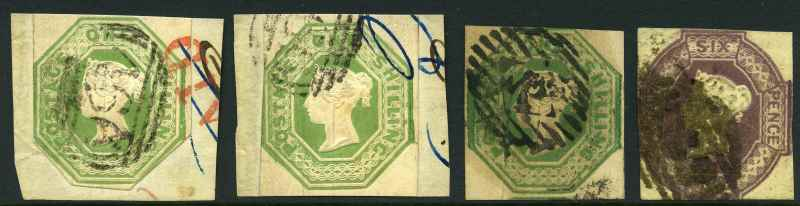 1847-54 1/- Pale Green Embossed Queen Victoria FU on piece (2), one with lower margins cut to shape and the other with ink mark at top right and 1/- Green and 6d Mauve Embossed Queen Victoria cut square used. Sg 54, 55 and 58.