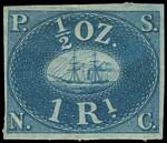 1857 1r Blue Pacific Steam Navigation Provisional imperf issue with 4 margins on Blued paper MLH, with slight paper adherence. Sg 1. Also an 1867 1r Blue reprint on White wove paper, with 3 margins, unused without gum. Catalogue Value £1,750.00.