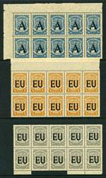 Selection of 199 mint SCADTA Consular Office Air Mail 1923-1927 Berlin Overprint issues, mostly in blocks or full sheets of 25, comprising 30c Dull Blue O/P A (10), 5¢ Orange-Yellow (50 including a full sheet), 10¢ Light Green (6) and 20¢ Grey (42) O/P EU and 5¢ Orange-Yellow (8), 60¢ Brown (35 including a full sheet with Sismondo certificate) and 1p Blackish Grey (2 part sheets of 24, both with missing nose cone on plane variety on one unit) O/P P . Most with slight gum disturbance, paper adherence on a few. Catalogue Value £2,485.00.